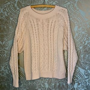 aerie Cable Knit Oversized Light Pink Sweater